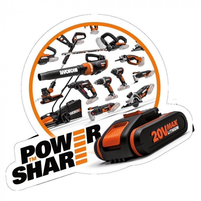 WX508.9 - Aku chvostová píla Li-Ion 20V, 22mm - bez akumulátora - PowerShare